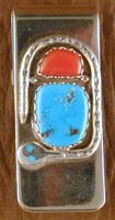 Effie Money Clip Coral and Turquoise with Turq eyes