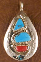 Effie Pendant Turquoise and Coral with Turquoise eyes
