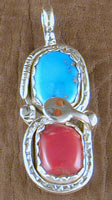 Effie Pendant Turquoise and Coral with Coral Eyes