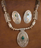 SS Malachite Necklace & Earring Set