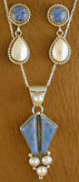 SS Denim Lapis and Mother of Pearl Set - EARRINGS