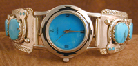 Effie Mens Watch with band of Turquoise with Turq eyes