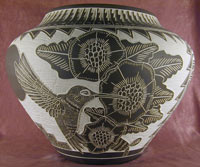 Acoma Etched Pottery/Hummingbird Design